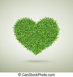 Small green plants heart shape, happy valentine's day