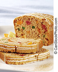 Fruitcake  - Detail of a fruitcake - two slices cut off