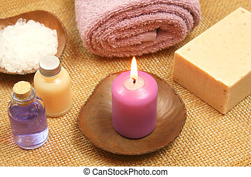 Beauty relax with candle - Health care and beauty treatment...