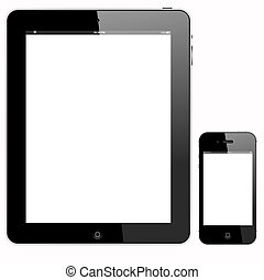 tablet PC and smartphone - tablet pc and smartphone, vector...