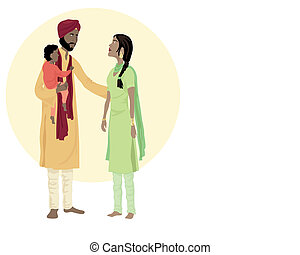 sikh family - an illustration of a sikh family including a...