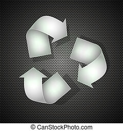 steel recycle on metal background. Vector illustration