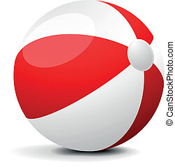 Beach Ball - illustration of a red and white beach ball, eps...