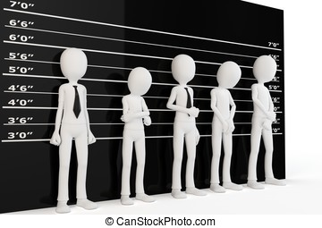 3d man with police lineup wall on white background