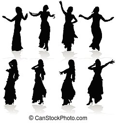 belly dancing black woman silhouette on white
