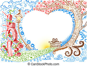 Love Doodle - illustration of colorful love card in doodle...
