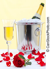 Red rose and champagne
