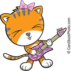 Rock Star Tiger Vector Illustration art
