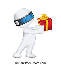 3d Man in Vector with Gift Box