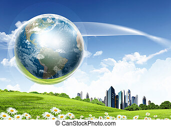 Green nature landscape with planet Earth - collage of green...