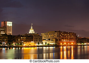 Savannah cityscape - Waterfront Savannah Historic Disctrict...