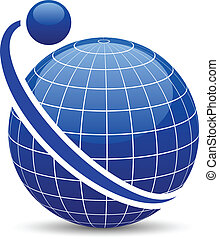 Abstract globe icon. - Blue globe with orbit. Vector. .