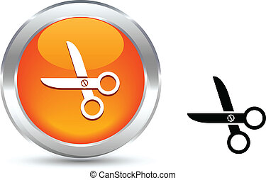 scissors button. - . scissors realistic button. Vector...