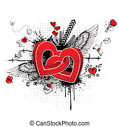 Abstract Love - illustration of colorful love card with...