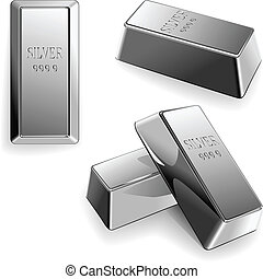 vector set of silver bars - minted silver bars at different...