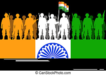 Soldier forming Indian Flag