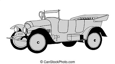 retro car on white background, vector illustration