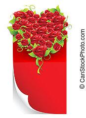 Rose Heart on Love Letter - illustration of red rose heart...