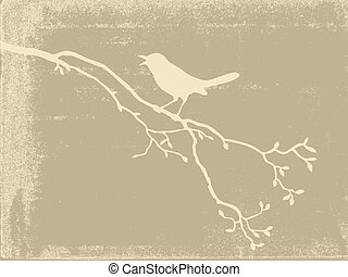 bird silhouette on old paper, vector illustration