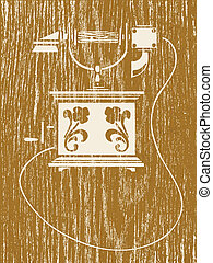 ancient telephone on wood background, vector illustration