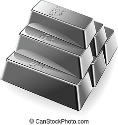 vector set of silver bars - minted silver Bars are stacked...