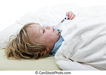 Boy with Fever - Ill young child, lying in bed with a...
