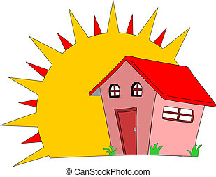New Home - Large sun shines on a new house which smiles in...