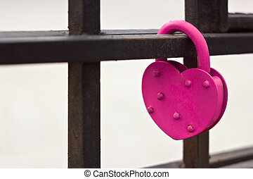 Pink heart lock - Pink heart love lock on the bridge