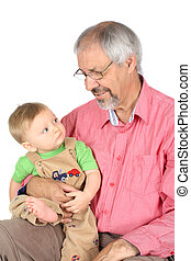 Grandfather and Grandson - Baby boy sitting on his...