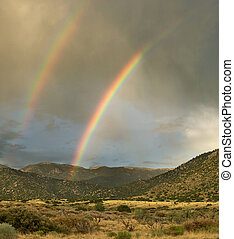 Double Rainbow in desert - Rare double rainbow over desert...