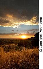 Stormy Desert Sunset - Desert Sunset right outside of...