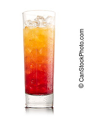 Tequila sunrise Cocktail on a white
