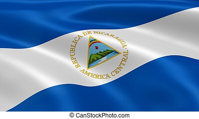 Nicaraguan flag in the wind. Part of a series.