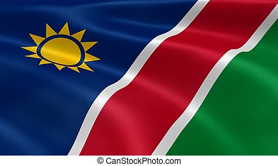 Namibian flag in the wind. Part of a series.