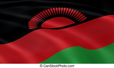 Malawian flag in the wind