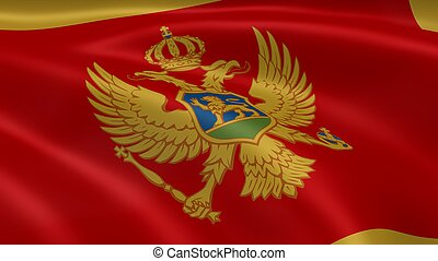 Montenegrin flag in the wind