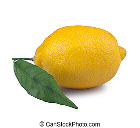 Lemon with leaf on a white background