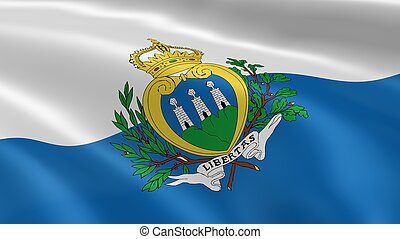 Sammarinese flag in the wind