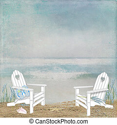 beach chairs in sand - Beach chairs with ocean view.