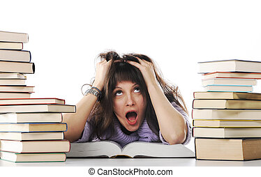 Stressed out girl with a big stack of books, similar pictures on my portfolio