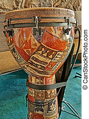 African Djembe Drum - This vertical stock image is an...