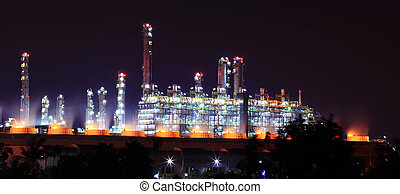 Oil refinery factory - panoramic view of oil refinery...
