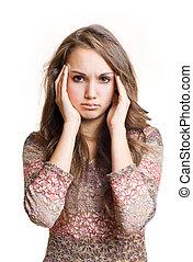 Headache coming - Beautiful young brunette girl showing...