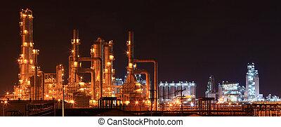 panorámico, aceite, refinería, fábrica