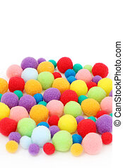 cotton ball - Colorful cotton ball on white background