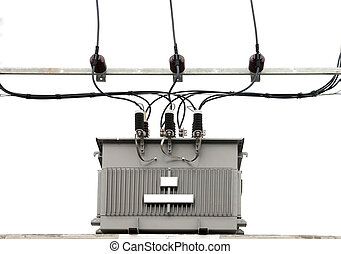 electric transformer - isolated electric transformer on...