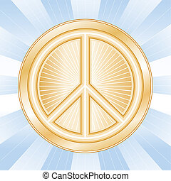 International Peace Symbol - Golden international symbol of...