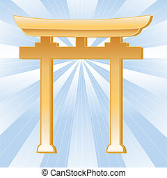 Shinto Symbol, Golden Torii Gate - Golden Torii Gate symbol...