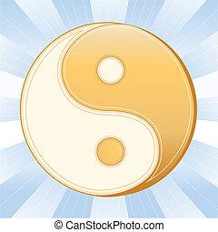 Taoism Symbol, Yin Yang Mandala - Golden Yin Yang mandala,...