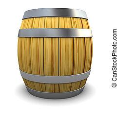 wine barrel - 3d illustration of wooden barrel over white...